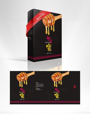 时尚简约大气高端黑色野花蜜包装盒设计