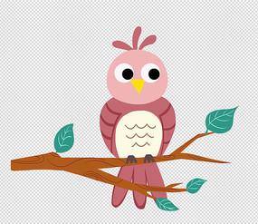 手繪動物可愛卡通站在樹枝上的貓頭鷹插畫