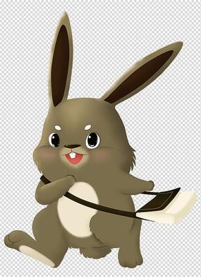 原创手绘动物卡通背书包的兔子插画