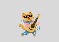 原创手绘动物卡通弹奏吉他的猫插画