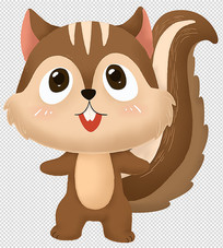 原创手绘动物可爱卡通小松鼠插画