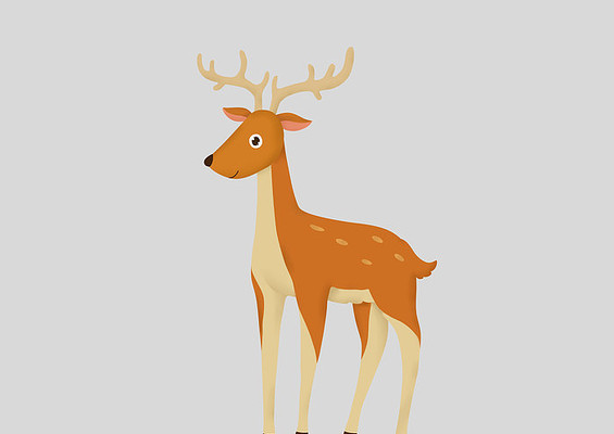 原创手绘卡通动物长着鹿角的小鹿插画