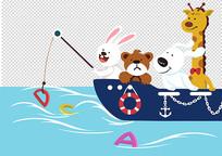 原创手绘卡通动物船上钓字母插画