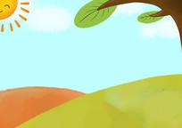 原创手绘卡通蓝天白云草地太阳风景插画
