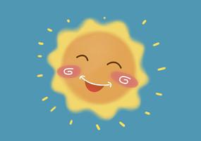 原創手繪卡通微笑的太陽插畫
