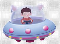 原创手绘人物卡通儿童开飞船的男孩插画