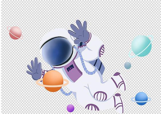 原创手绘人物卡通儿童宇航员太空航行插画