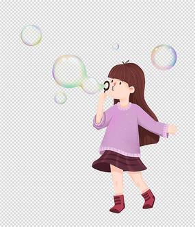 原创手绘人物卡通女孩吹泡泡插画