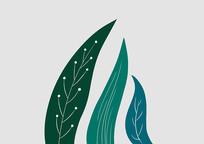 原创手绘植物卡通小清新绿色叶子插画