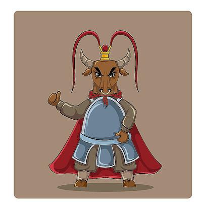 原创手绘紫金冠卡通将军牛