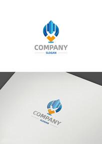创意建筑定位数据科技logo