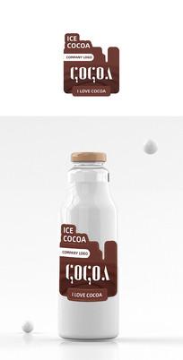 创意可可饮品异形饮品标贴