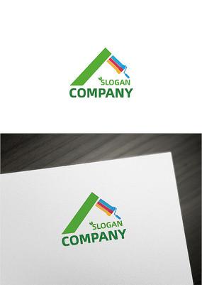 创意屋顶建筑装修绿化企业logo