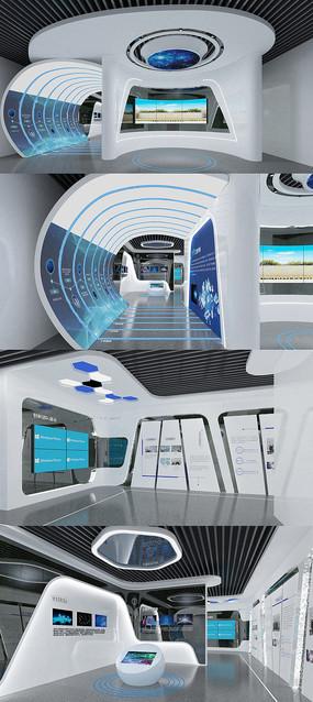 科研成果展厅3DMAX模型 效果图
