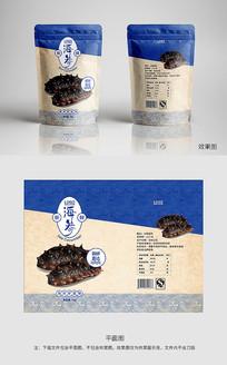 蓝色海鲜海参复古包装
