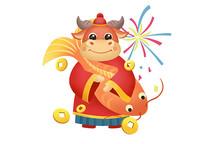 手绘动物卡通金牛抱鱼迎新春插画