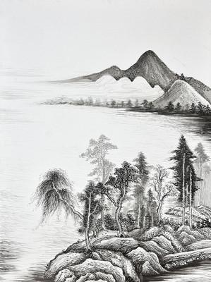 手绘黑白山水风景油画