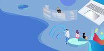 手绘人物扁平蓝色科技商务办公场景插画