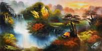 旭日东升公园油画背景墙