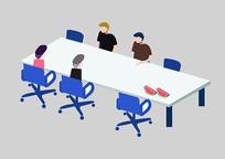 原创手绘人物扁平商务人士会议室开会场景