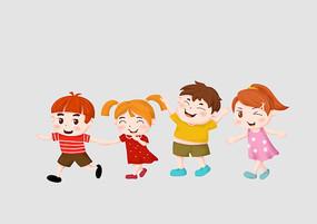 原创手绘人物卡通一群可爱小朋友玩耍插画
