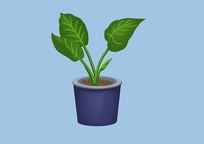原创手绘植物卡通大绿叶盆栽绿植插画