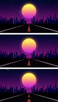 4K霓虹城市公路行进奔驰炫彩视频素材