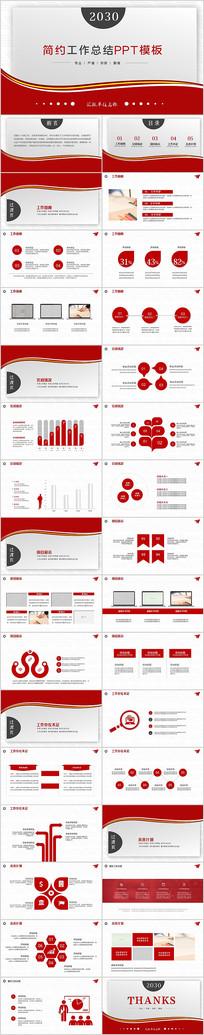 红色简约实用年度工作总结计划PPT模板