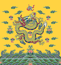 黄色的龙袍插画