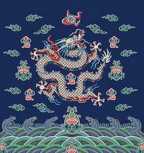 蓝色的龙袍花纹插画