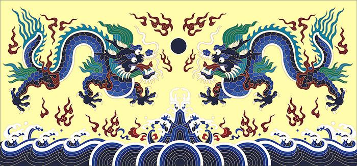 双龙戏珠龙袍花纹插画