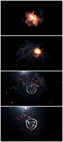 震撼火焰爆炸烟雾火星粒子logo视频模板