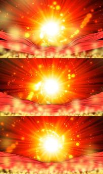 光芒红绸金色粒子舞台背景视频素材