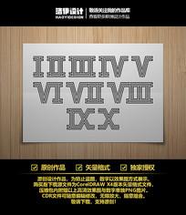 线型四线体罗马数字字体设计