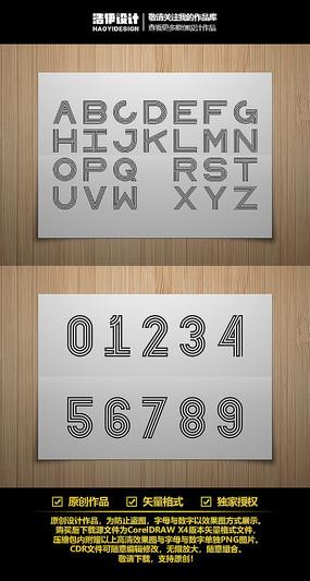 线型四线体英文字母与数字字体设计