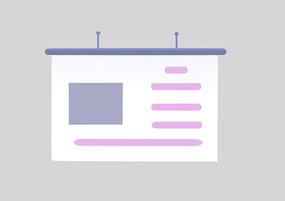 原创手绘扁平商务PPT演讲界面卡通插画