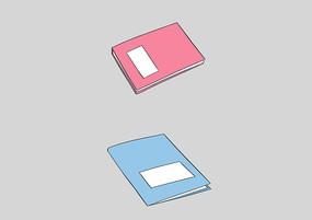 原创手绘扁平商务办公红蓝色文件夹插画