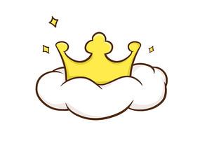 原创手绘儿童卡通黄色王冠插画