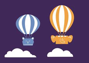 原创手绘儿童卡通两个热气球插画
