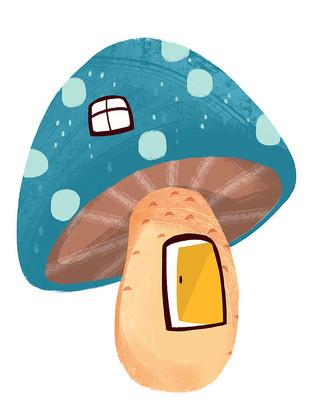 原创手绘可爱卡通绿色大蘑菇屋插画