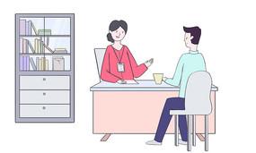 原创手绘人物扁平商务办公男女面试场景插画