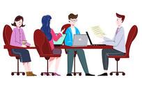 原创手绘人物多人商务办公领导开会场景插画