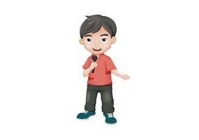 原创手绘人物卡通儿童唱歌的小男孩插画