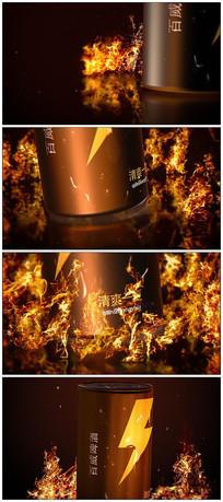 震撼火焰燃烧易拉罐3dlogo视频模板