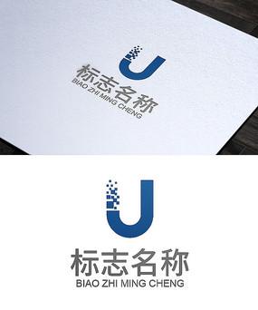 字母U科技粒子logo设计