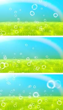 4K蓝天白云绿草地风吹麦浪吹泡泡视频素材