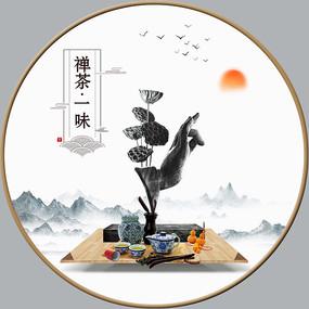 禅茶一味圆形室内装饰画