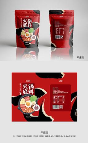 红色火锅底料中国风包装