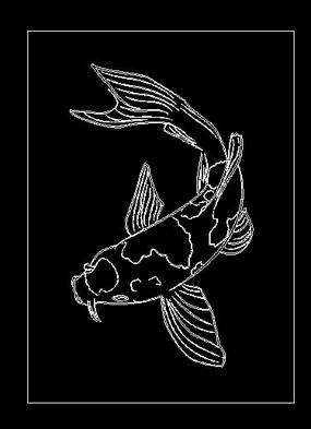 锦鲤鲤鱼线稿cad雕刻图案