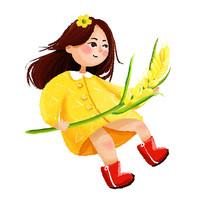 原创秋天手拿麦穗的女孩